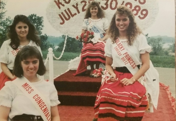 Montgomery's Ambassadors for 1988.  From Front to Back: Miss Congeniality Colleen Perkinson, Second Princess Chrissy Dietz, First Princess Susy Herrmann, and Queen Connie David.