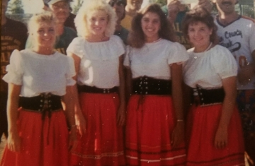 Montgomery's 1987 Kolacky Days Royalty. From Left: 2nd Princess Debra Petricka, Queen Margaret Viskocil, 1st Princess Kymn Kierzek, & Miss Congeniality Susan Rynda