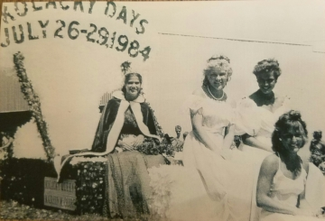 The 1984 Kolacky Days Royalty includes Maureen McGuire, 1st Princess Shari Schramm, 2nd Princess DeeDee Holetz, & Miss Congeniality Donna Scheffert