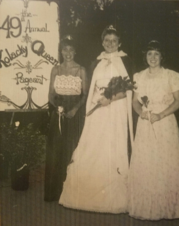 Montgomery's 1983 Kolacky Days Royalty. From Left: Second Princess Marina Ruhland, Queen Anne Skluzacek, and First Princess Diane Rynda.  Missing: Miss Congeniality Carol Benolken