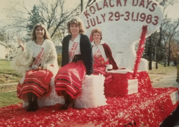 Montgomery's Ambassadors for 1982 include 1st Princess Mary Herrmann, 2nd Princess Mary Mladek, & Queen Sandy Marek. Missing: Miss Congeniality Michelle Homberg