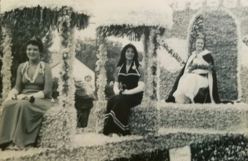 The 1973 Kolacky Day Royalty. From Left: 2nd Princess Cindi Grundhoffer, 1st Princess Debra Freid, and Queen Ruth David.  Missing: Miss Congeniality Bonnie Janovsky