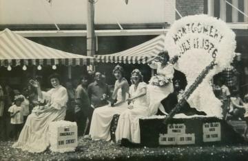 1976 Kolacky Days Royalty. From Left: Miss Congeniality Debbie Cemensky, First Princess Ruth Lehman, Second Princess Laurie Barnett, and Queen Tami Parsons