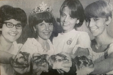 1967 Kolacky Day Royalty.  Queen Susan Pany, 1st Princess Karen Holicky, 2nd Princess Linda Krocak, and Miss Congeniality Barb Vrzal