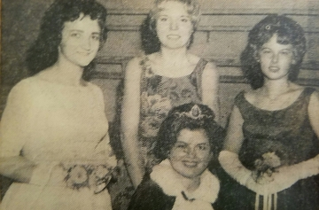 1963 Kolacky Day Royalty. Queen Marlaine Mellen, 1st Princess Sandy Miller, and 2nd Princess Sharon Grundhoffer