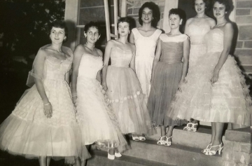 1957 Kolacky Day Royalty with the 1958 Royal Court.  From Left: 1st Attendant Gladys Havel, 2nd Attendant Sharon Washa, Queen Joan Zahratka, Queen Maureen Hackett, 1st Attendant Betty Vlasak and 2nd Attendant Betty Krocak