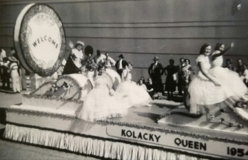 The 1953 Kolacky Day Royalty - Qeen Donna Krocak with Frances Hinderscheid and Bernice Taraba