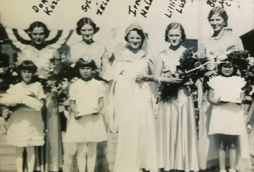 1932 Kolacky Day Royalty.  Queen Irma Malone with Sylvia Zelenka, Lillian Lusk, Bernice Malone, and Dora Kozel as attendants.