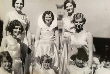 Montgomery's 1st Kolacky Day Royal Court.  1931 Kolacky Day Queen Leatta Ehmk with Ella Krocak, Sylvia Zelenka, Anna Zelenka, and Bernice Malone as attendants.