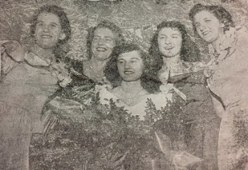 Montgomery's 1948 Kolacky Day Royalty - Queen Gladys Soulek, Donna Mudge, Marie Sande, Marietta Hruby, and Dorothy Wondra