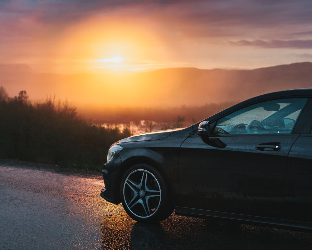 Mercedes Benz sunset