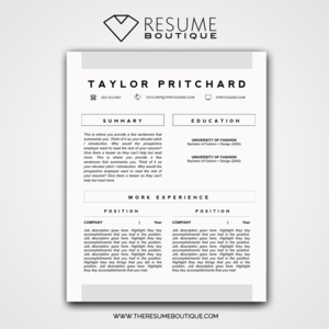 TEMPLATES — The Resume Boutique