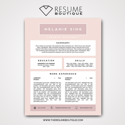 The Pretty in Pink — The Resume Boutique