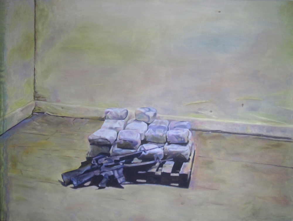 King's Riches, Guns and Drugs 2013 oil on canvas 50 x 66 in.