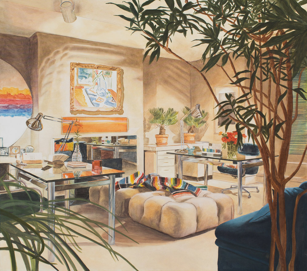 drawing room interior 2014 oil on canvas 60 x 68 in.