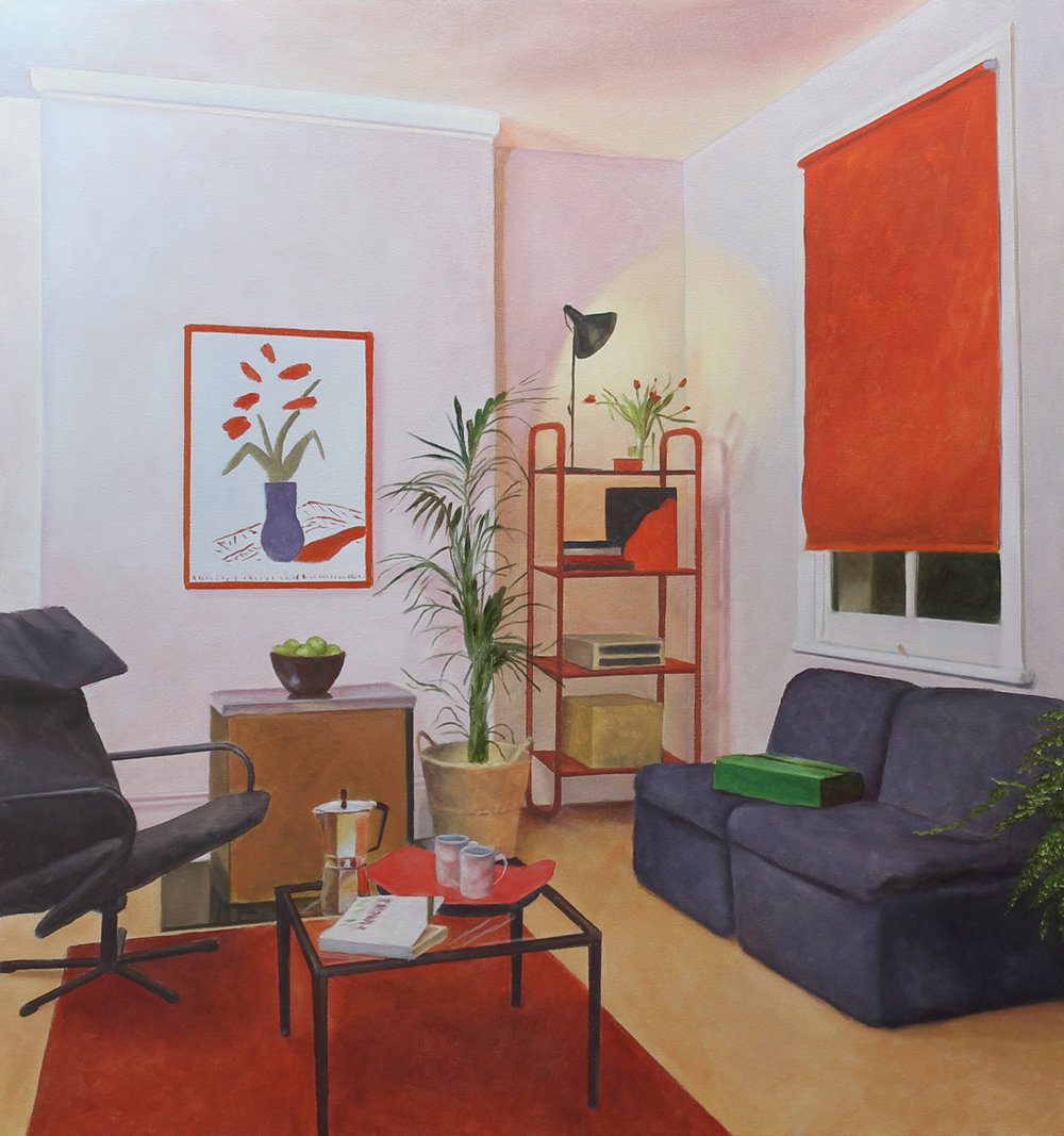 American Collection Painting 17 (Hockney) 2017 oil on canvas 36 x 34 in.