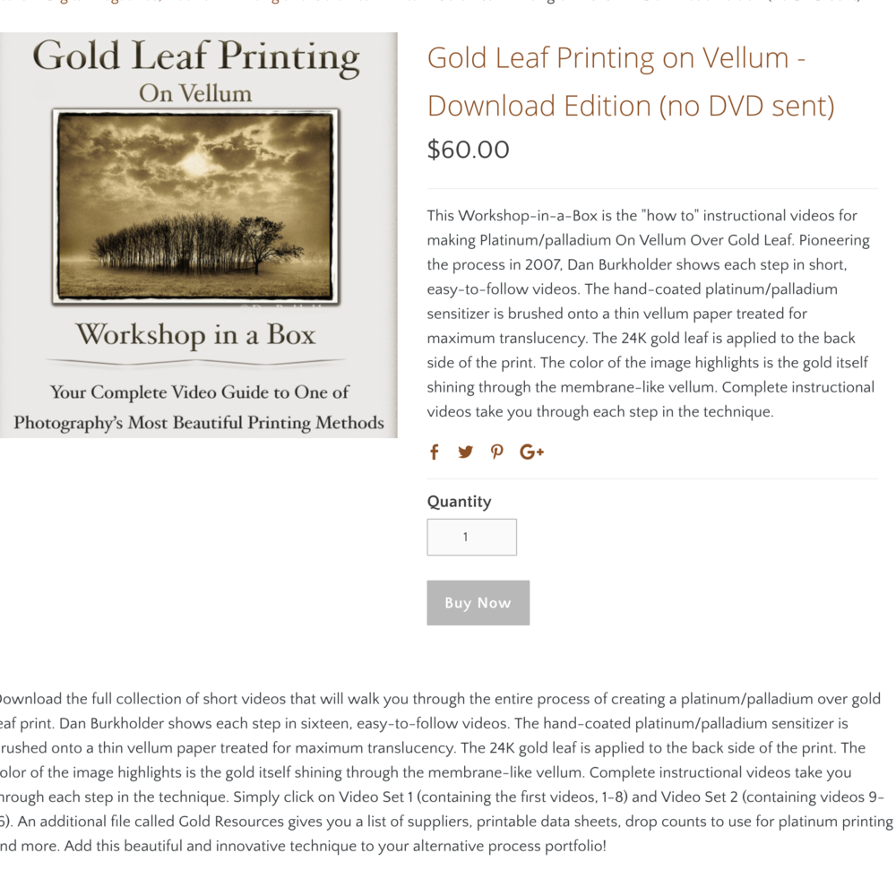 Dan Burhkholder - Dan Burkholder invented the method of gold leaf on vellum. He does it behind platinum/palladium prints and it's gorgeous. If you are really interested in pursuing this, the video is definitely worth the