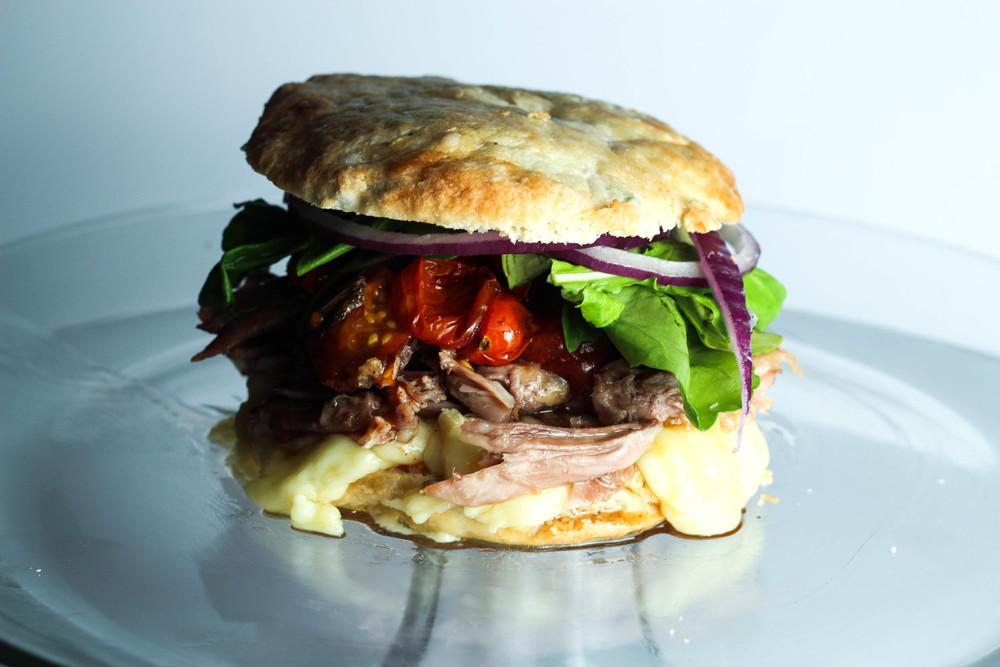 Duck Confit + Brie Biscuit Sandwich