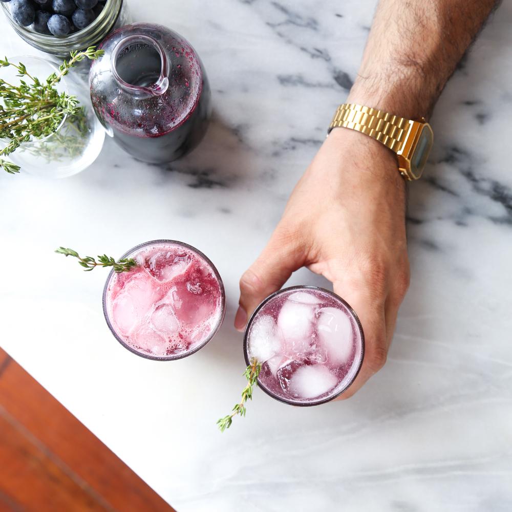 Blueberry Madeira Gin Fizz