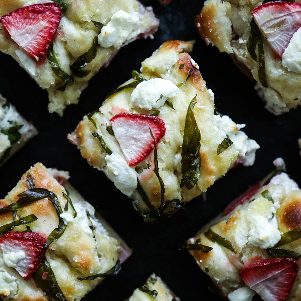 Strawberry, Basil, Goat Cheese Focaccia