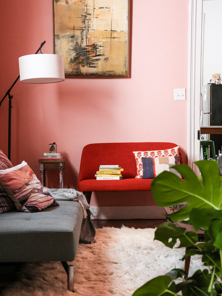 Pretty in Pink Living Room Upgrade: White + Shaggy Area Rug ...