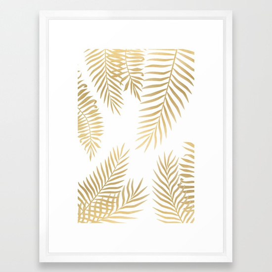 "Gold Palm Leaves Framed Print 20x26"" $75"