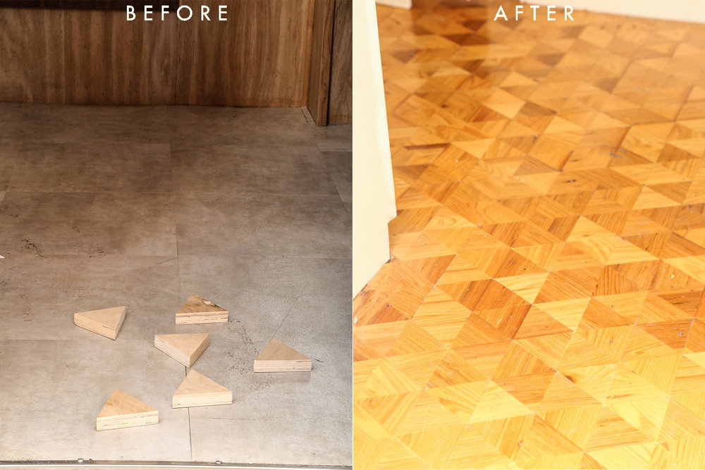 DIY Triangle Wood Floors Before and After