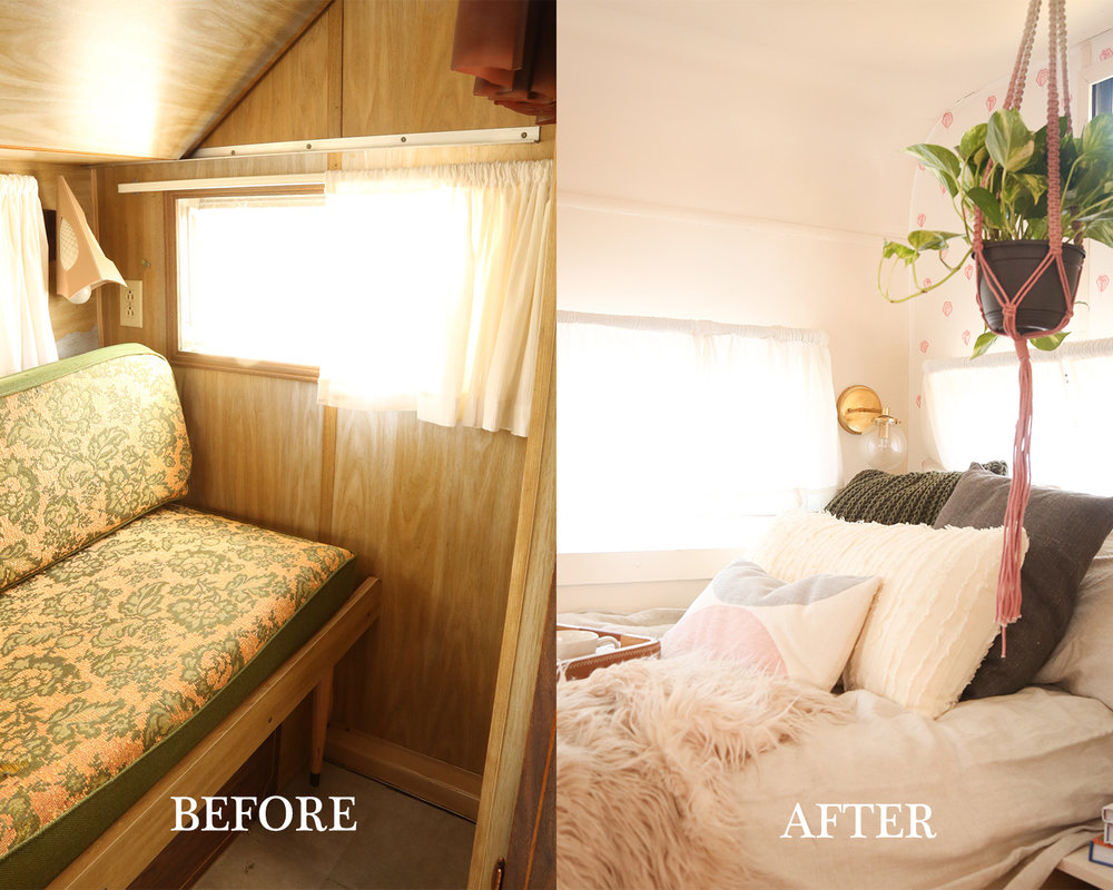 renovated vintage camper bedroom makeover