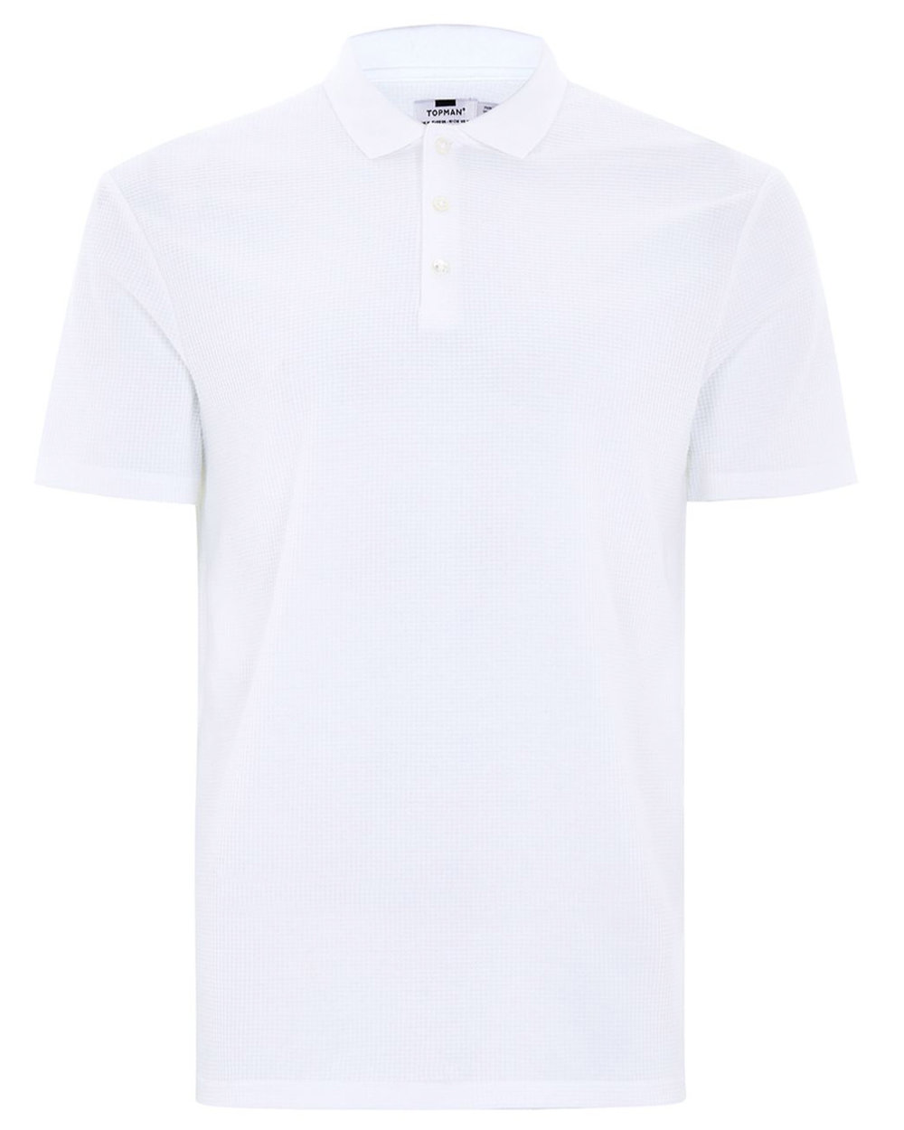 White Slim Fit Waffle Polo - ($35)
