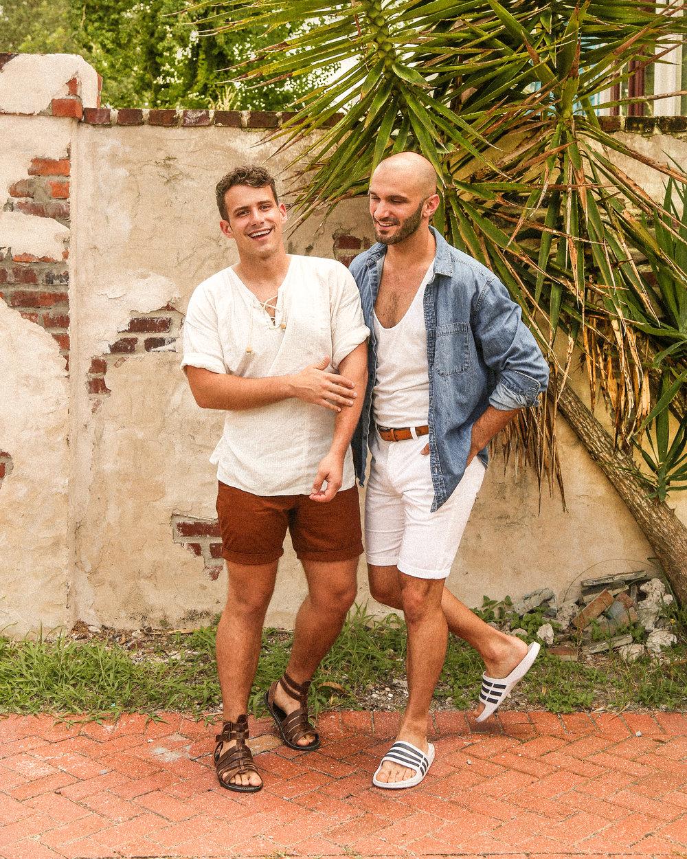 Beau:  sandals  /  similar shirt   Matt:  similar shirt  /  tank  /  shorts  /  slides