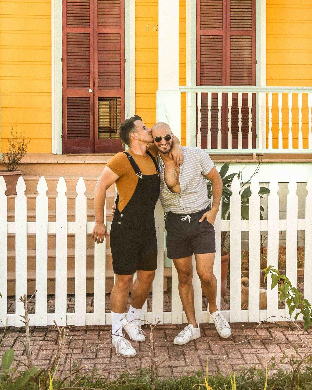 Beau:  shirt  /  overalls   Matt:  similar shirt  /  shorts
