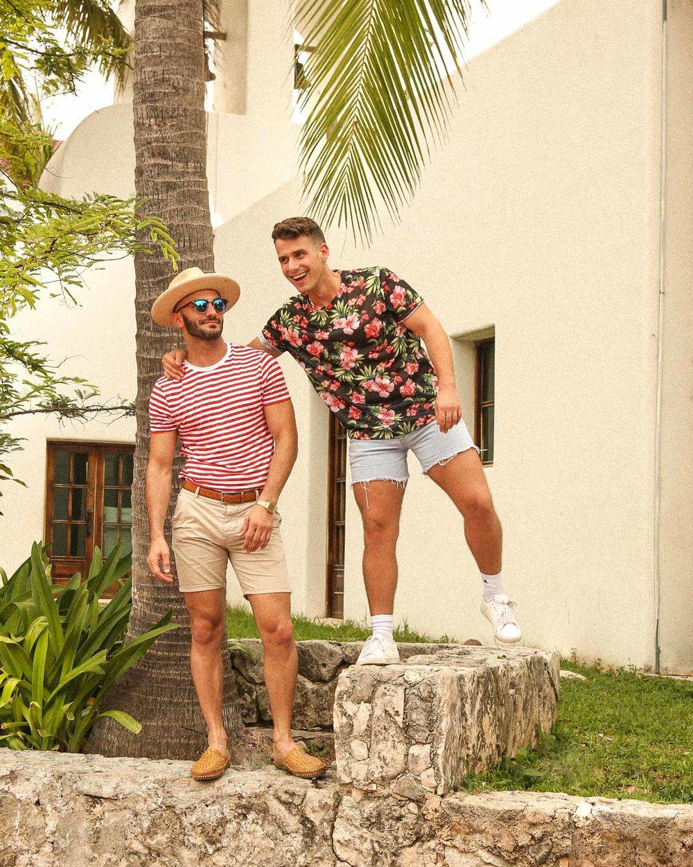 Matt:  shirt  /  slides  /  fedora   Beau:  similar shirt  /  shorts