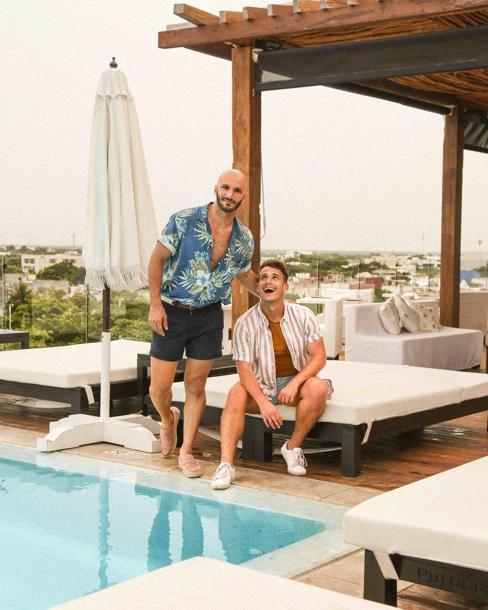 Matt:  similar shirt  /  shorts  /  loafers   Beau:  shirt  /  undershirt  /  shorts