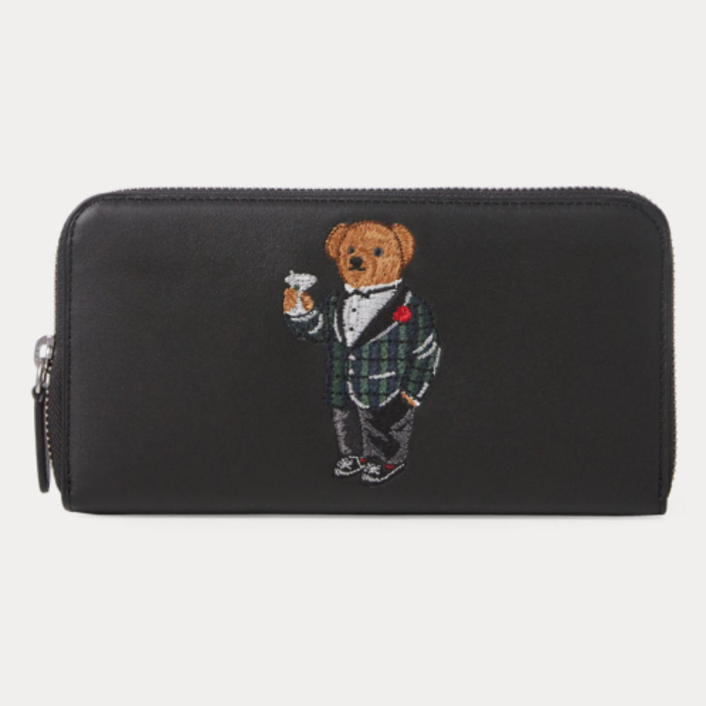 Polo Bear Leather Zip Wallet