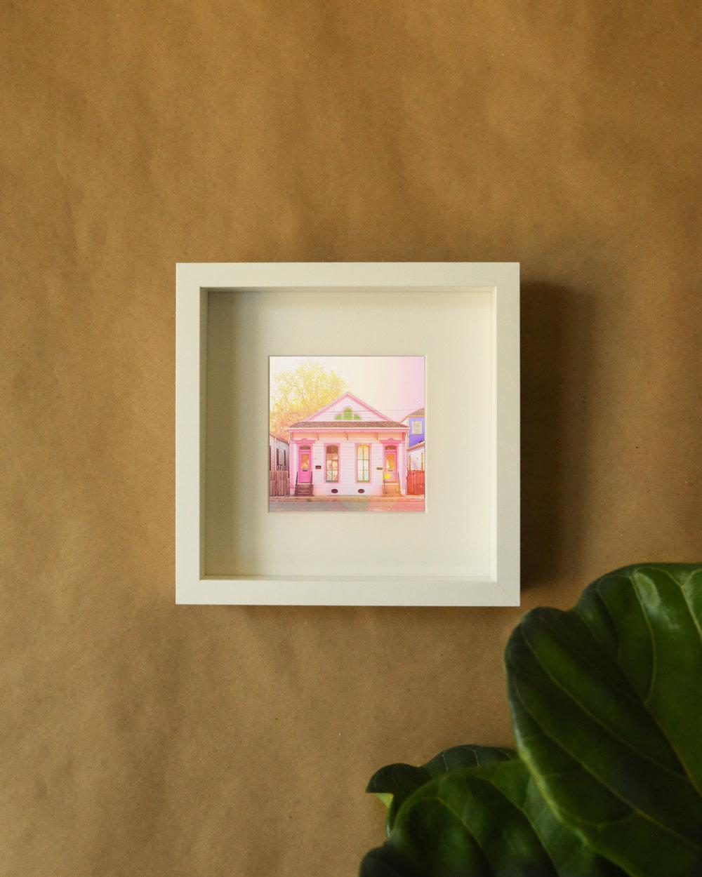 pink shotgun home, framed print