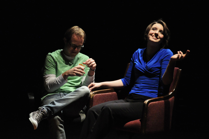 Theatre students Matt Silar and Rachel Faulkner perform in a production of [title of show] at Abilene Christian University.
