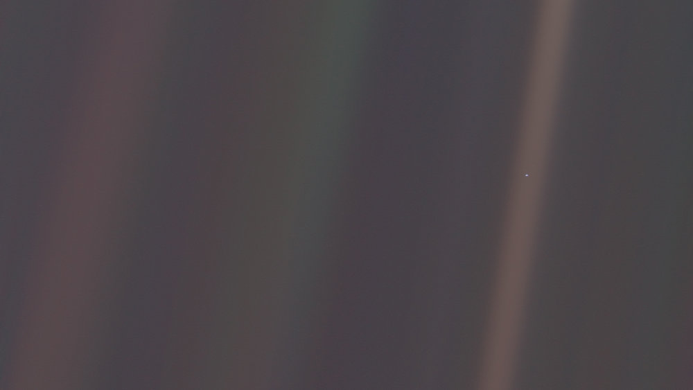 "INSPIRATION: 'PALE BLUE DOT' BY CARL SAGAN - Look again at that dot. That's here. That's home. That's us. On it everyone you love, everyone you know, everyone you ever heard of, every human being who ever was, lived out their lives. The aggregate of our joy and suffering, thousands of confident religions, ideologies, and economic doctrines, every hunter and forager, every hero and coward, every creator and destroyer of civilization, every king and peasant, every young couple in love, every mother and father, hopeful child, inventor and explorer, every teacher of morals, every corrupt politician, every ""superstar,"" every ""supreme leader,"" every saint and sinner in the history of our species lived there-on a mote of dust suspended in a sunbeam..."