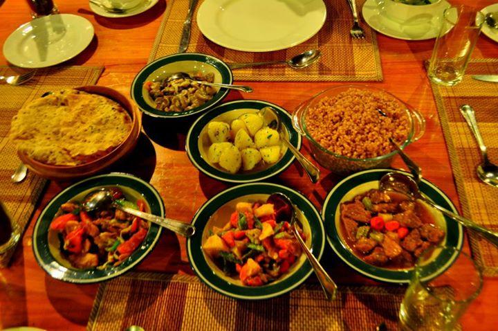 A typical Bhutanese spread.