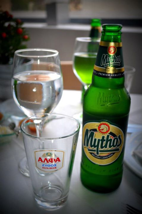 Mythos, one of the threebeers we've tried while in Greece.