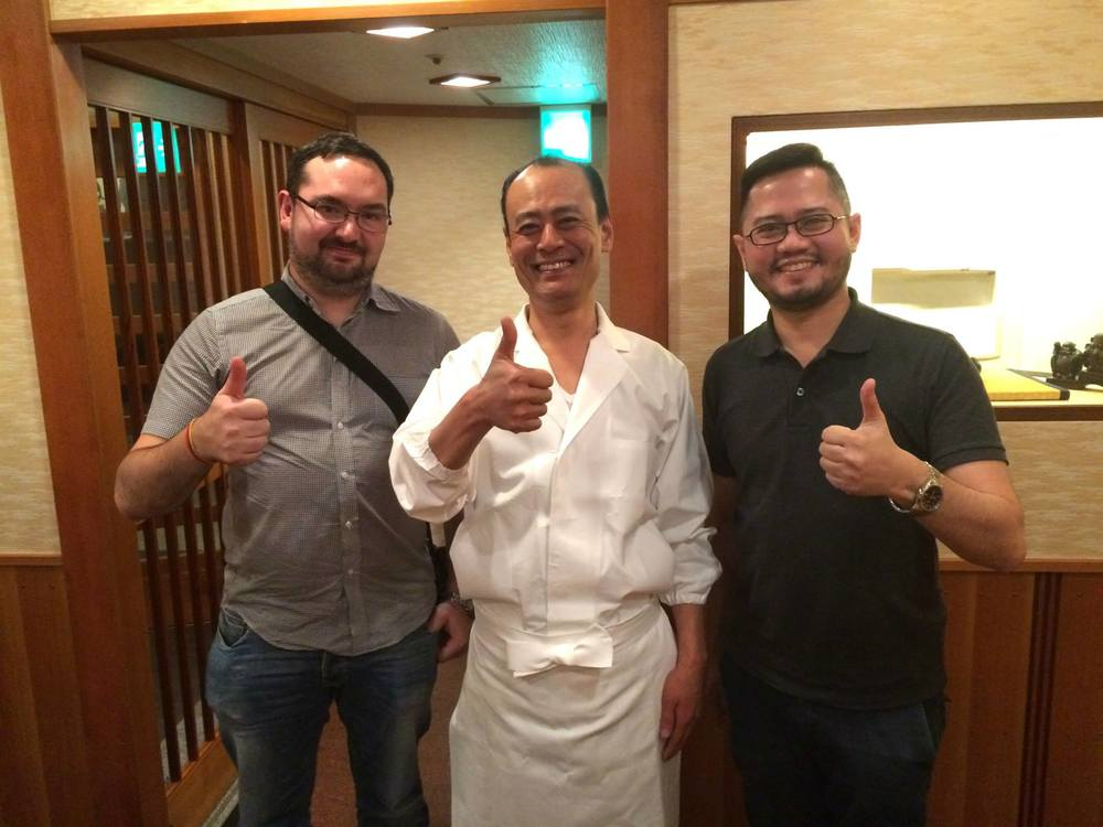 The Next Escape's Scott Allford and Ryan Buaron with 2 Michelin starred Sukiyabashi Jiro Roponggi Hills' chef Takashi Ono after a 20 course dinner!