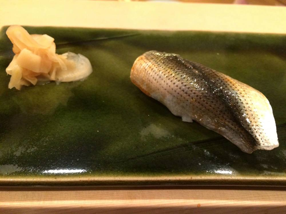 Aside from kohada/gizzard shadpictured above, we also had smoked bonito, ikura, kurumaebi, clam, mirugai, anago, ika, hirame andabalone. Scott wasn't exactly fond of mackerel previously but totally loved it too! In total, we spent ¥59,900 (US$ 480 at 2 Jun 2015 exchange rates).