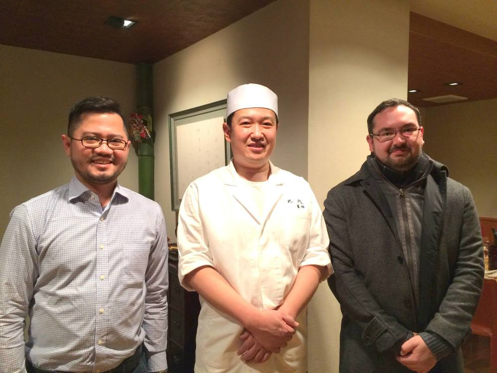 When we continued our sojourn to Osaka, we made sure to drop by one of its Michelin star restaurants. The city itself has over 100 Michelin stars! This is Chef  Hitoshi Takahata  of  3 Michelin star restaurant TAIAN , a grill posing with us after a fantastic dinner!