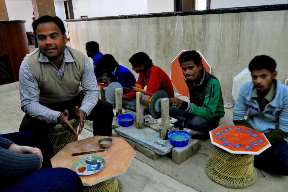 We were tired, sleepy and hungry and our Agra tour guide insisted on taking us to this marble factory. This man started with 'How are you today?' We replied, 'Tired, sleepy and hungry and I don't want to be sold anything.' And then he continued on with his sales talk.