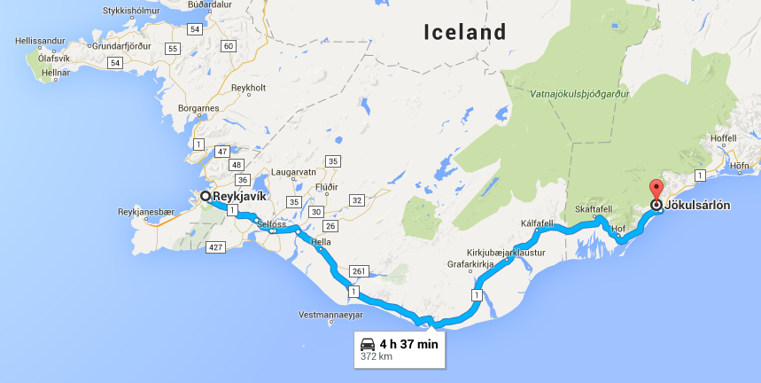 Google map of Iceland