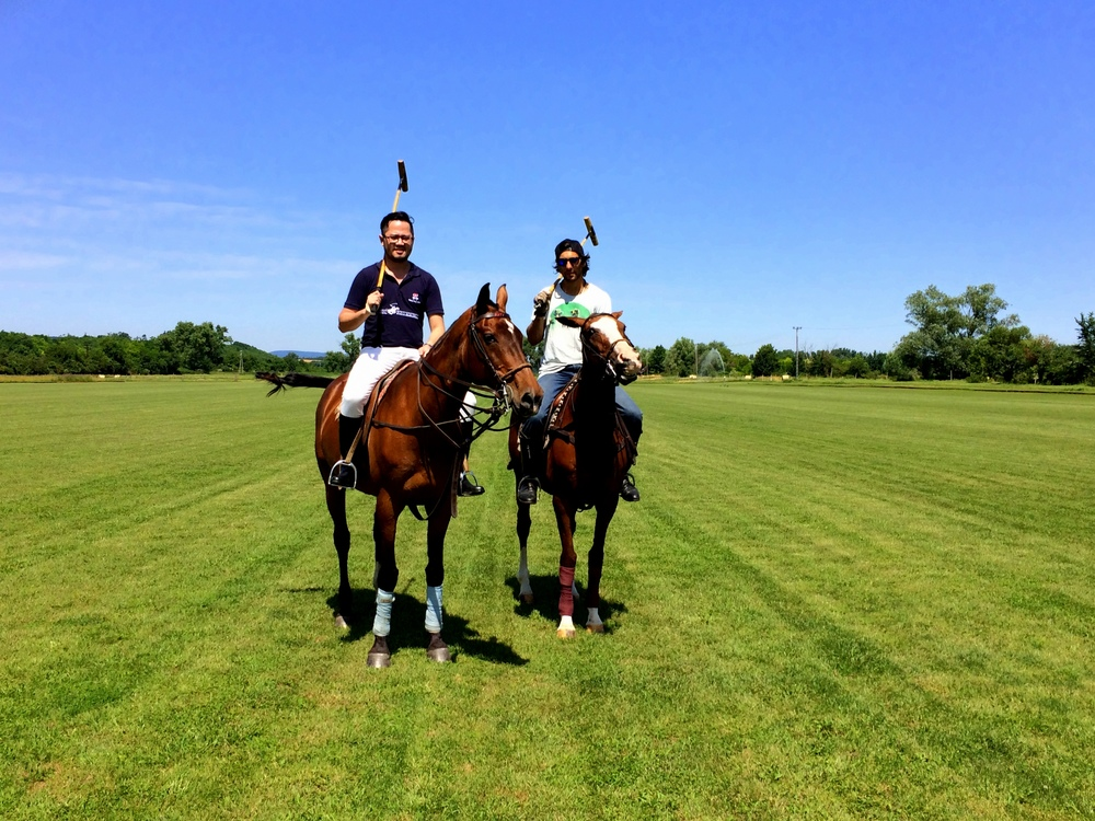 The Next Escape's Ryan Buaron with Hungarian Polo Club's Edgardo Llambi.
