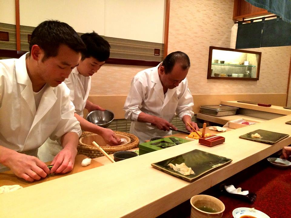 Sukiyabashi Jiro's Chef Takashi Ono and his team at work.