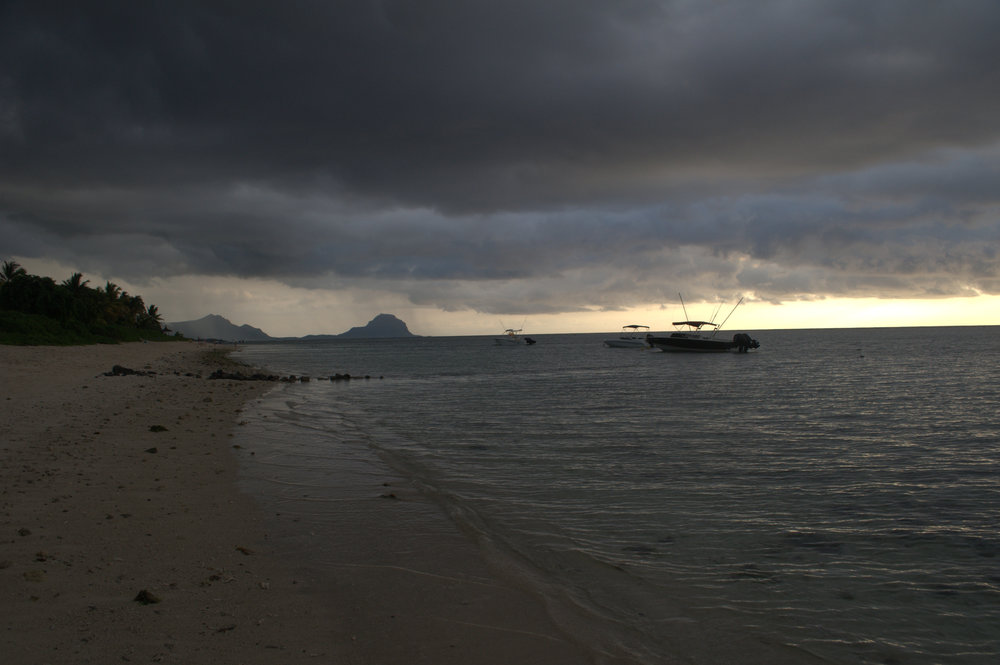 Looking at the rain falling on Le Morne