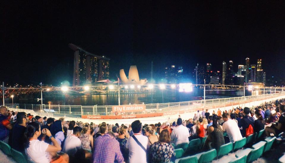One of the best vantage points during the Singapore Grand Prix.