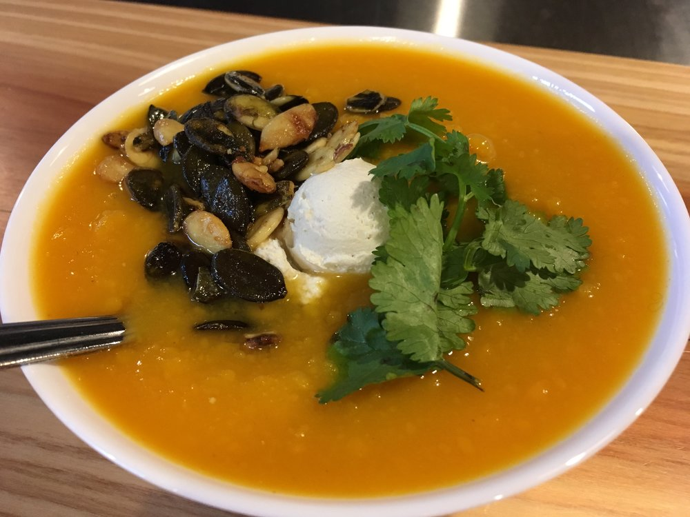 Roasted Butternut Squash Soup w/ Cashew Cream, toasted pepitas (pumpkin seeds) and fresh cilantro leaves.  Get Ya' Some @ Pixie Retreat, Portland, Oregon, 432 NW 11th Ave, Portland, OR, 97209, Pearl Location.  Just 4 blocks from Radiant Body Thermography, Pixie Retreat is the perfect little lunch place for improving your state of mind and body.  Your thermal patterns will thank you!