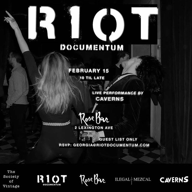 THIS WEDNESDAY! We're slaying at the Rose Bar @gramercyparkhotel Come party! Remember to RSVP: georgia@riotdocumentum.com #caverns #riot #rosebar ⚡️⚡️